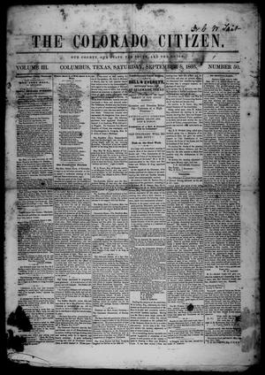Primary view of object titled 'The Colorado Citizen (Columbus, Tex.), Vol. 3, No. 50, Ed. 1 Saturday, September 8, 1860'.