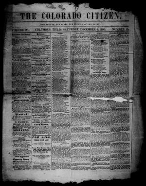 Primary view of object titled 'The Colorado Citizen (Columbus, Tex.), Vol. 4, No. 10, Ed. 1 Saturday, December 8, 1860'.