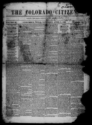 Primary view of object titled 'The Colorado Citizen (Columbus, Tex.), Vol. 4, No. 26, Ed. 1 Saturday, April 6, 1861'.