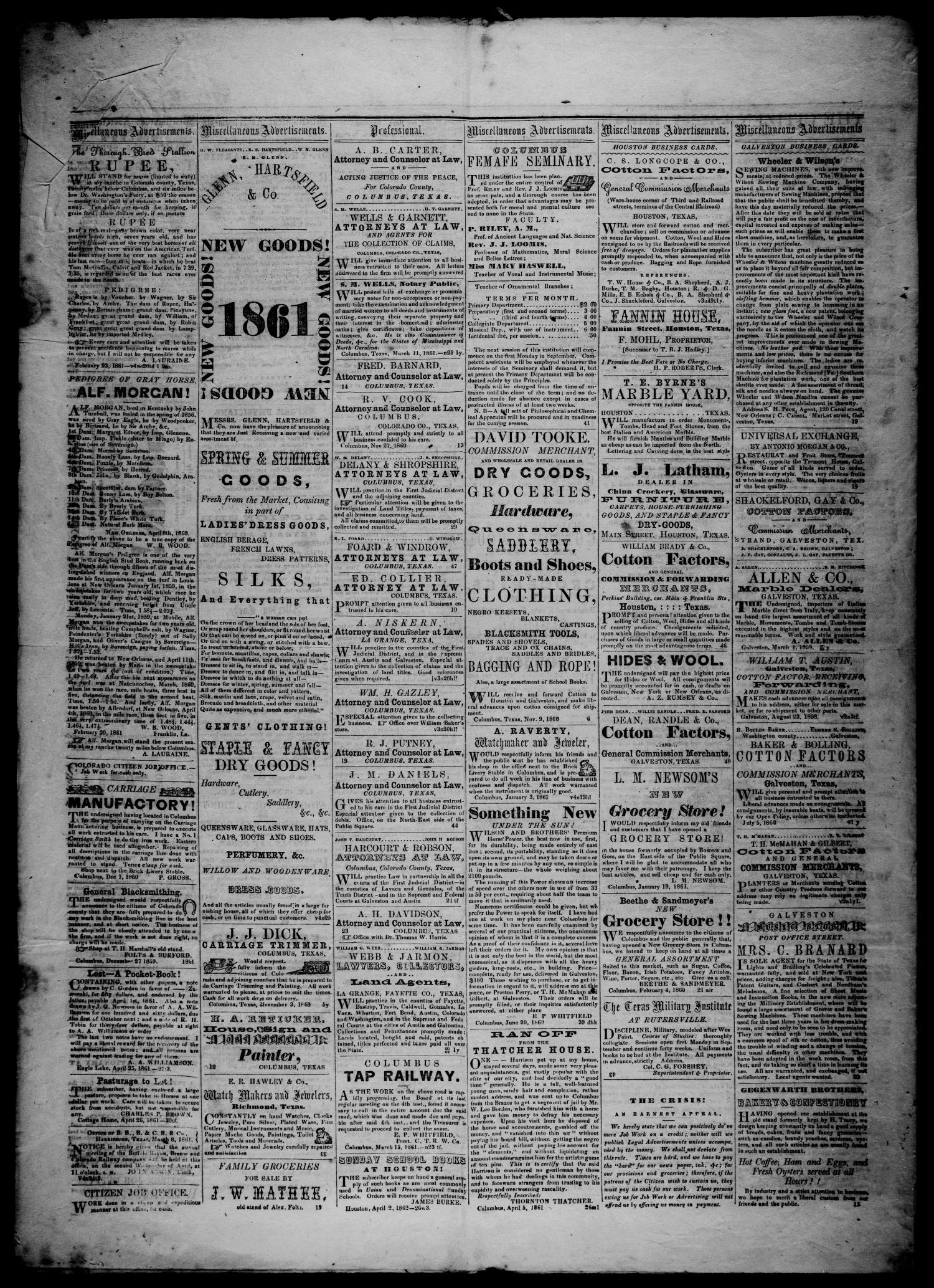 The Colorado Citizen (Columbus, Tex.), Vol. 4, No. 32, Ed. 1 Saturday, May 18, 1861                                                                                                      [Sequence #]: 4 of 4