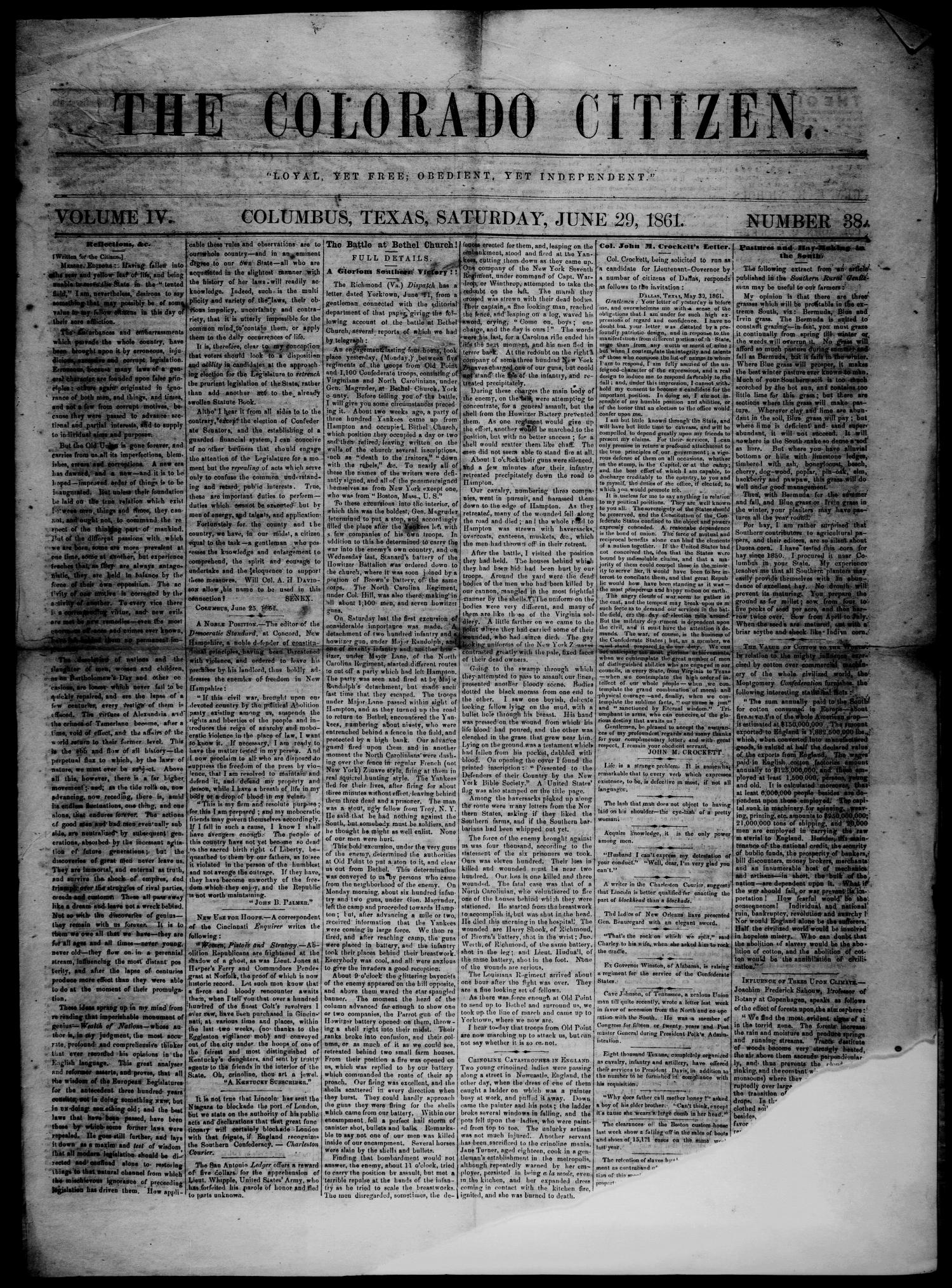 The Colorado Citizen (Columbus, Tex.), Vol. 4, No. 38, Ed. 1 Saturday, June 29, 1861                                                                                                      [Sequence #]: 1 of 4