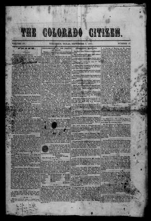 Primary view of object titled 'The Colorado Citizen (Columbus, Tex.), Vol. 4, No. 47, Ed. 1 Saturday, September 7, 1861'.