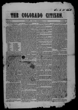 Primary view of object titled 'The Colorado Citizen (Columbus, Tex.), Vol. 4, No. 48, Ed. 1 Saturday, September 14, 1861'.
