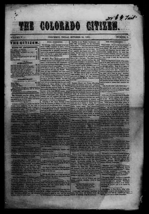 Primary view of object titled 'The Colorado Citizen (Columbus, Tex.), Vol. 5, No. 2, Ed. 1 Saturday, October 26, 1861'.