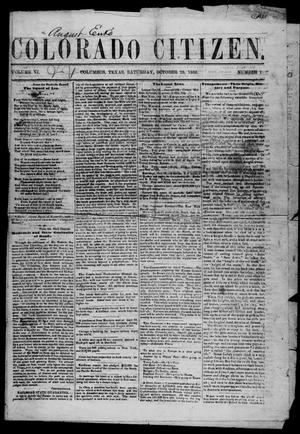 Primary view of object titled 'Colorado Citizen (Columbus, Tex.), Vol. 6, No. 1, Ed. 1 Saturday, October 20, 1866'.