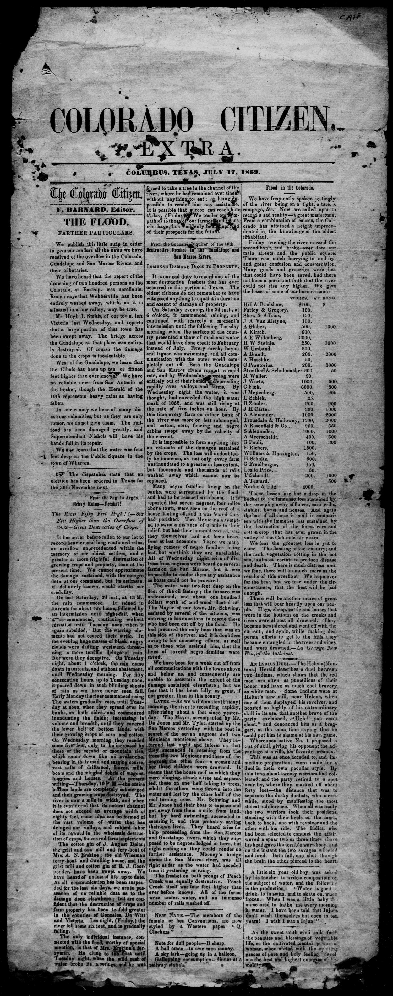 Colorado Citizen (Columbus, Tex.), Ed. 1 Saturday, July 17, 1869                                                                                                      [Sequence #]: 1 of 2