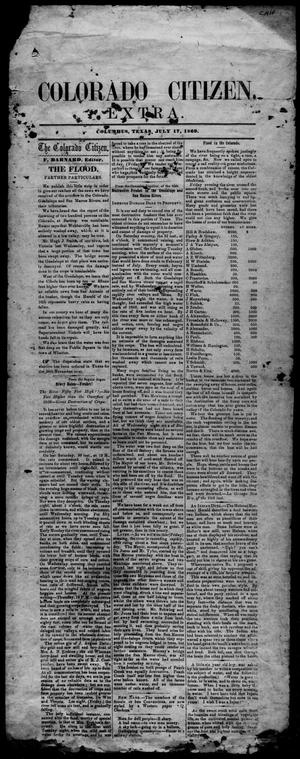 Primary view of object titled 'Colorado Citizen (Columbus, Tex.), Ed. 1 Saturday, July 17, 1869'.