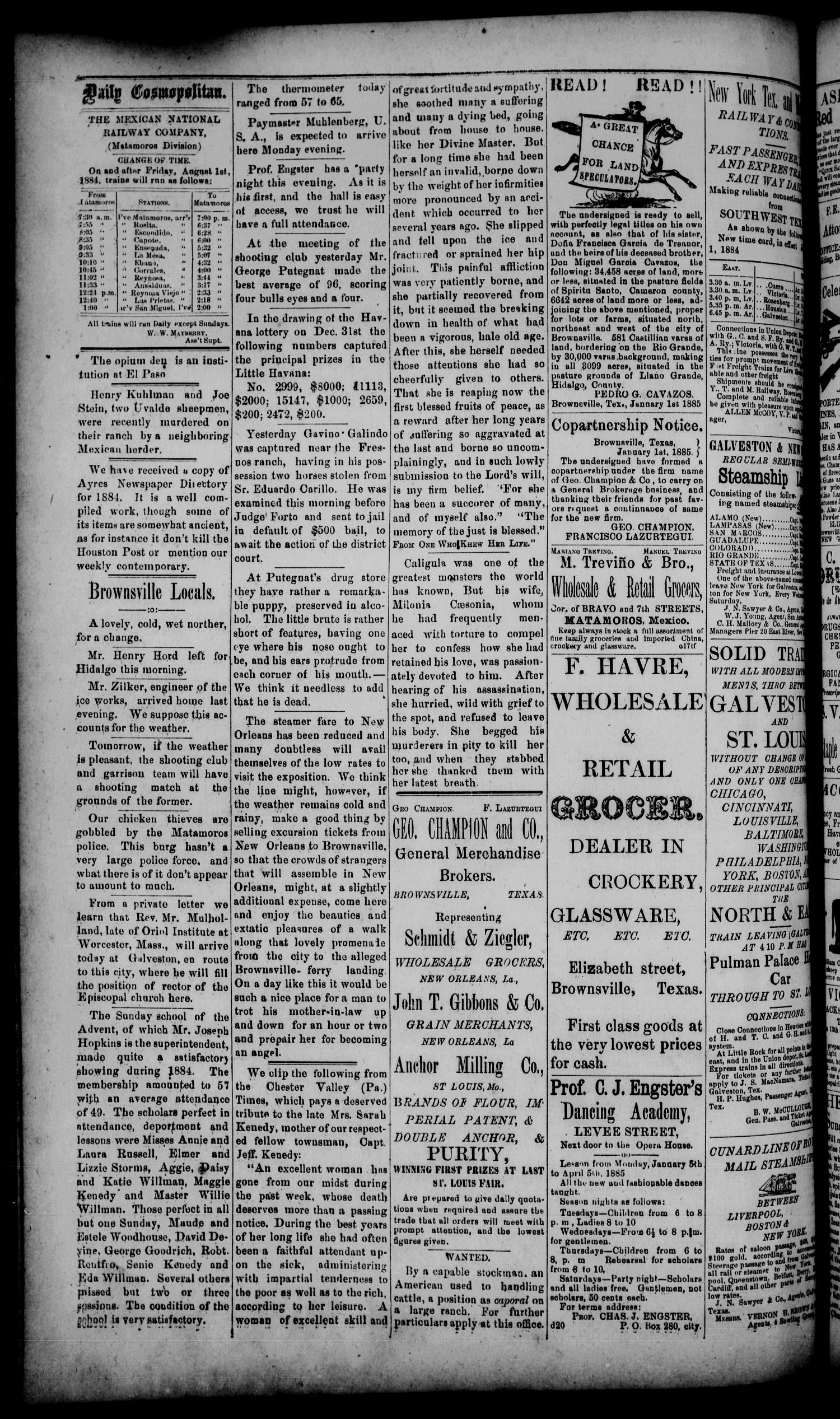 The Daily Cosmopolitan (Brownsville, Tex.), Vol. 6, No. 122, Ed. 1 Saturday, January 10, 1885                                                                                                      [Sequence #]: 2 of 4