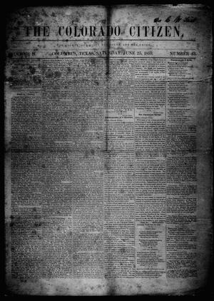 Primary view of object titled 'The Colorado Citizen (Columbus, Tex.), Vol. 2, No. 43, Ed. 1 Saturday, June 25, 1859'.