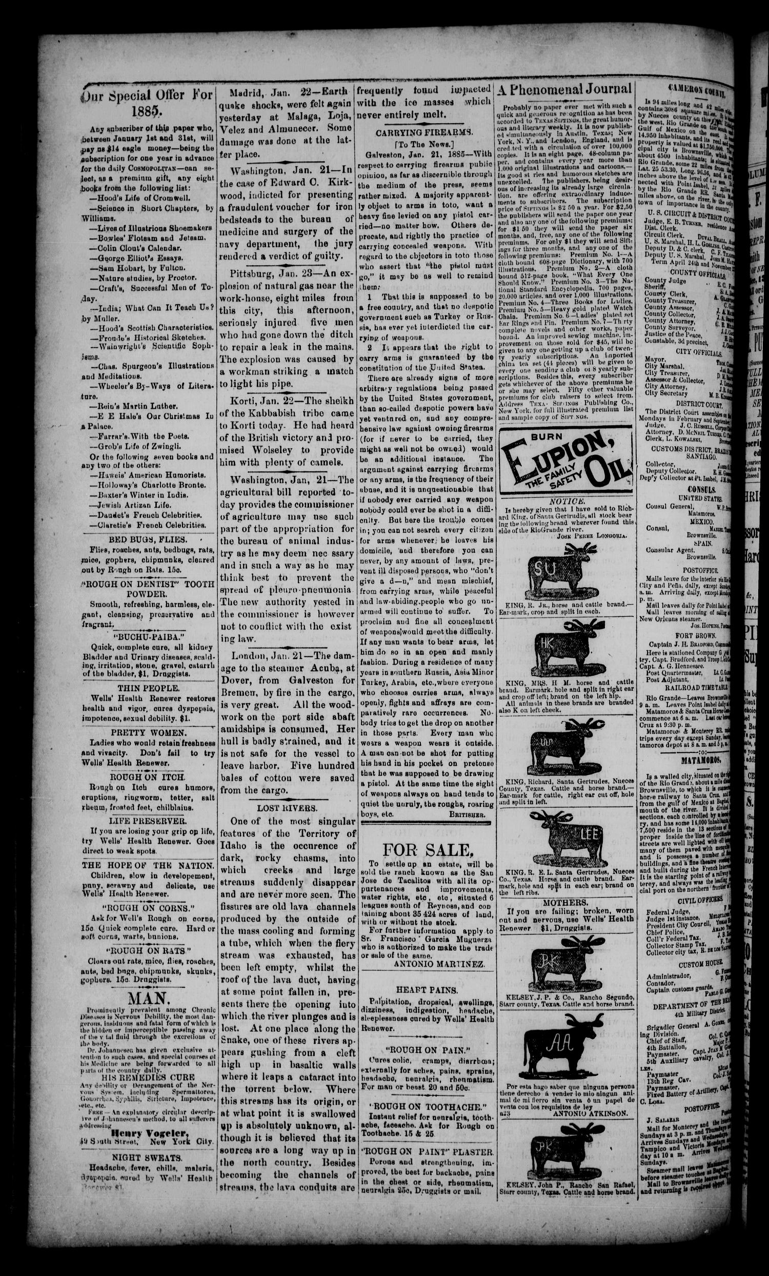 The Daily Cosmopolitan (Brownsville, Tex.), Vol. 6, No. 138, Ed. 1 Thursday, January 29, 1885                                                                                                      [Sequence #]: 4 of 4
