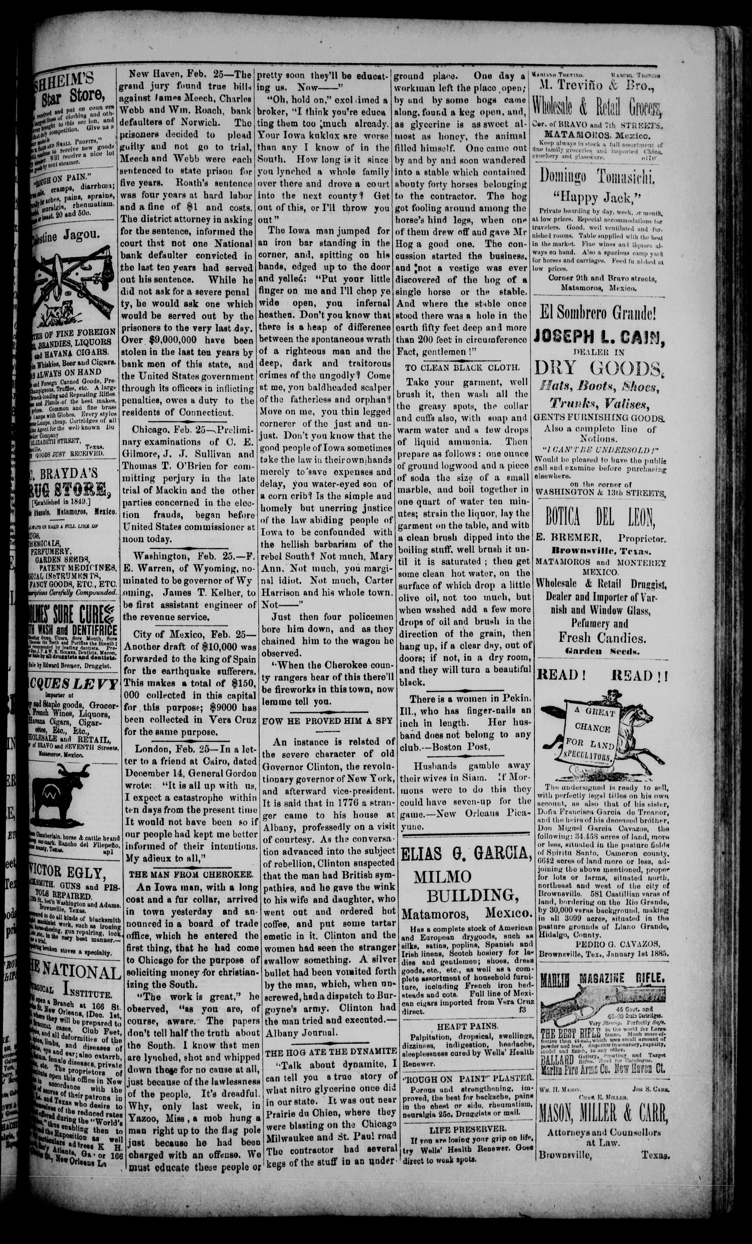 The Daily Cosmopolitan (Brownsville, Tex.), Vol. 6, No. 167, Ed. 1 Wednesday, March 4, 1885                                                                                                      [Sequence #]: 3 of 4