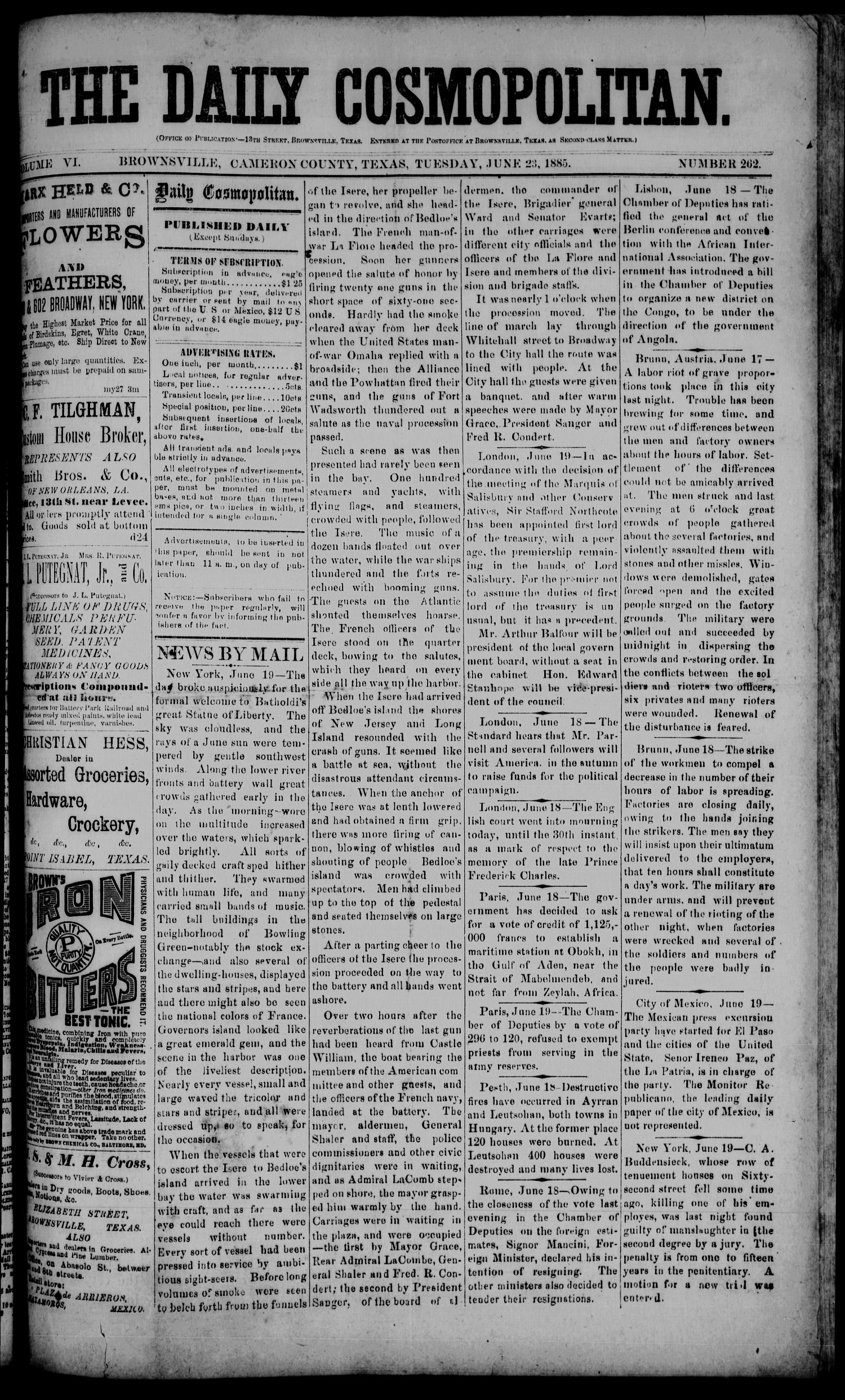 The Daily Cosmopolitan (Brownsville, Tex.), Vol. 6, No. 262, Ed. 1 Tuesday, June 23, 1885                                                                                                      [Sequence #]: 1 of 4