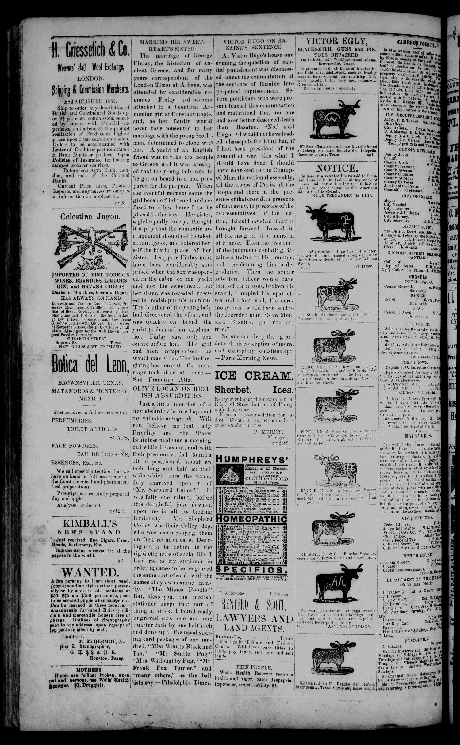 The Daily Cosmopolitan (Brownsville, Tex.), Vol. 6, No. 271, Ed. 1 Friday, July 3, 1885                                                                                                      [Sequence #]: 4 of 4