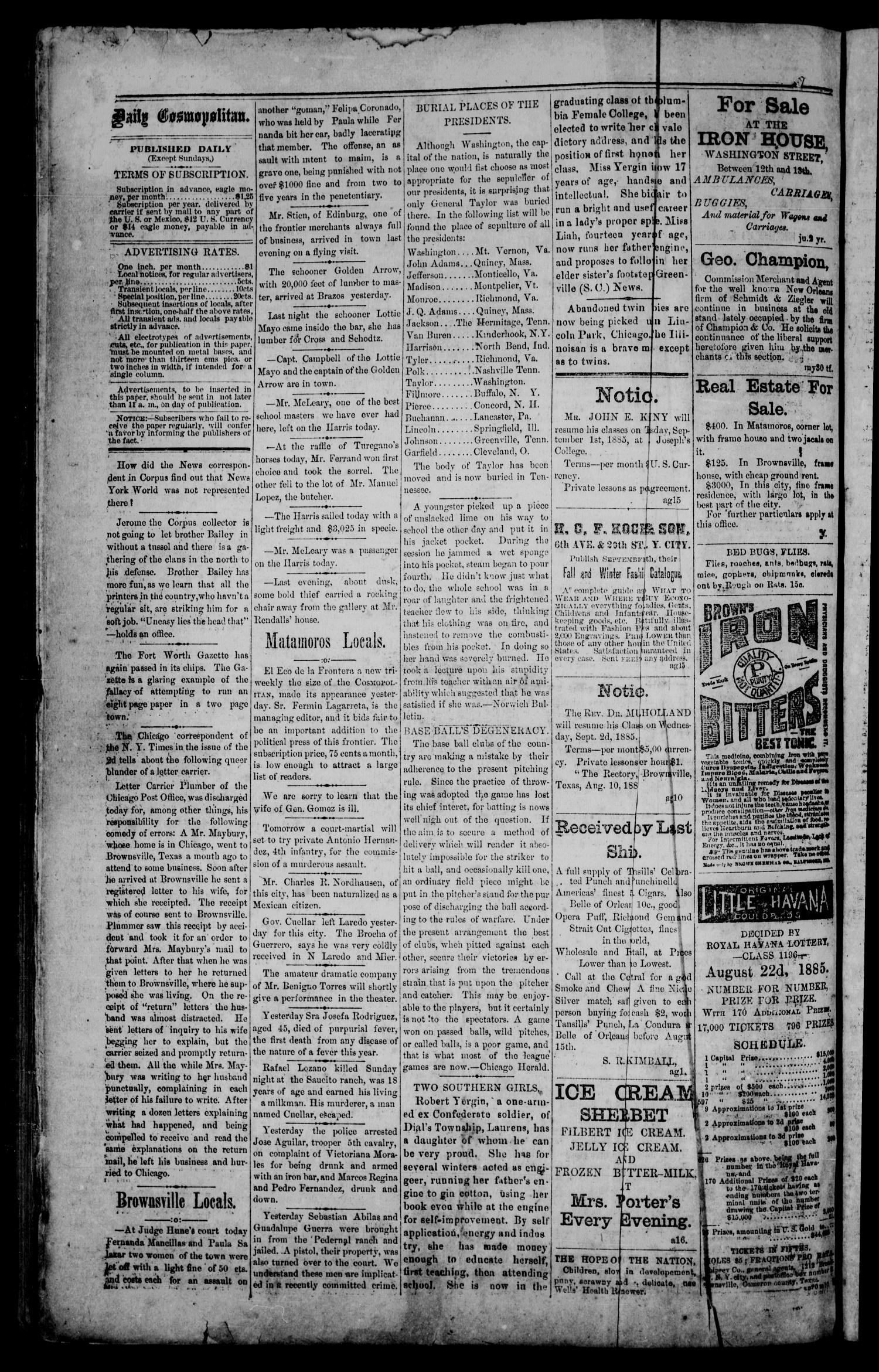 The Daily Cosmopolitan (Brownsville, Tex.), Vol. 6, No. 309, Ed. 1 Tuesday, August 18, 1885                                                                                                      [Sequence #]: 2 of 4