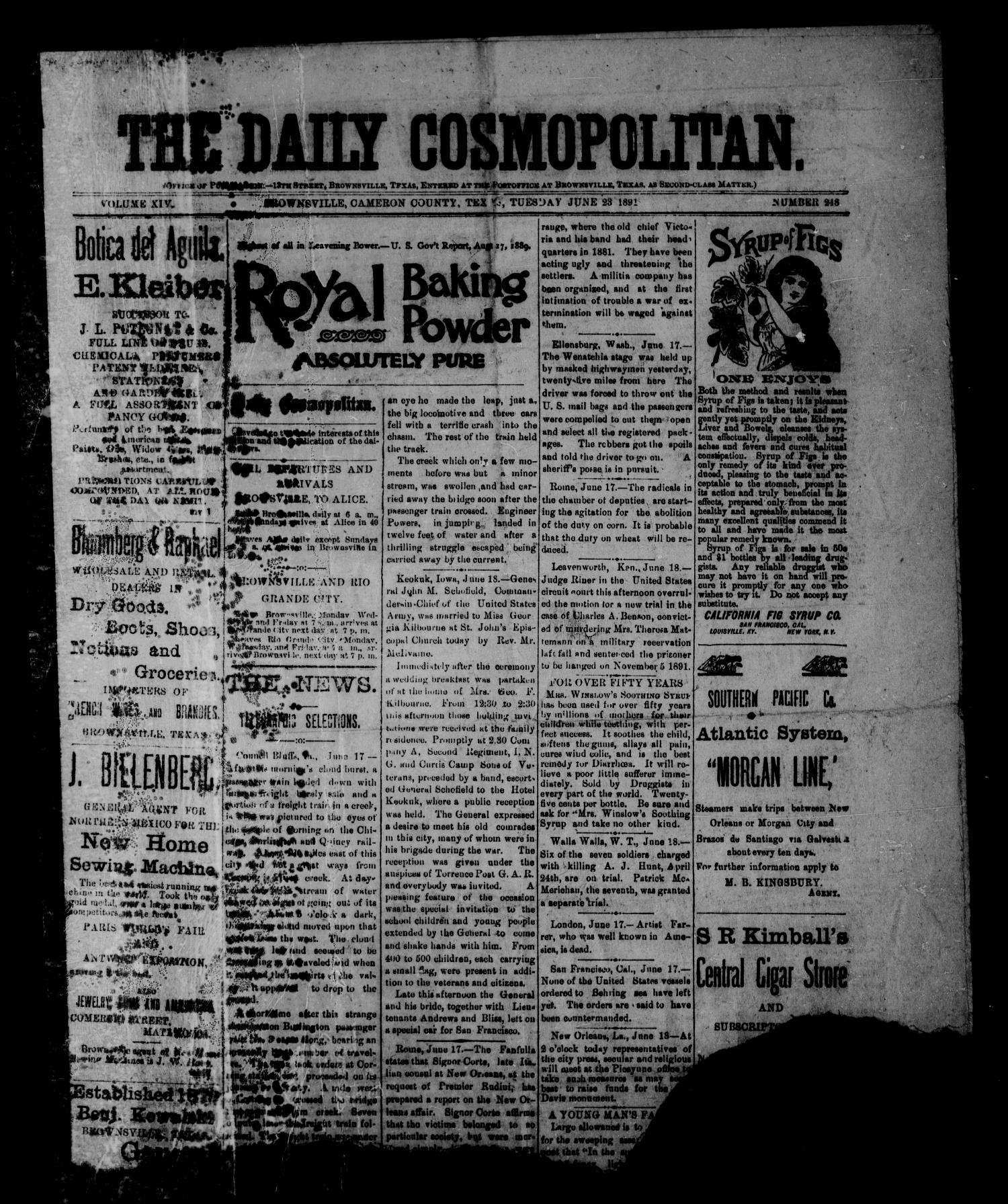 The Daily Cosmopolitan (Brownsville, Tex.), Vol. 14, No. 248, Ed. 1 Thursday, June 23, 1892                                                                                                      [Sequence #]: 1 of 4
