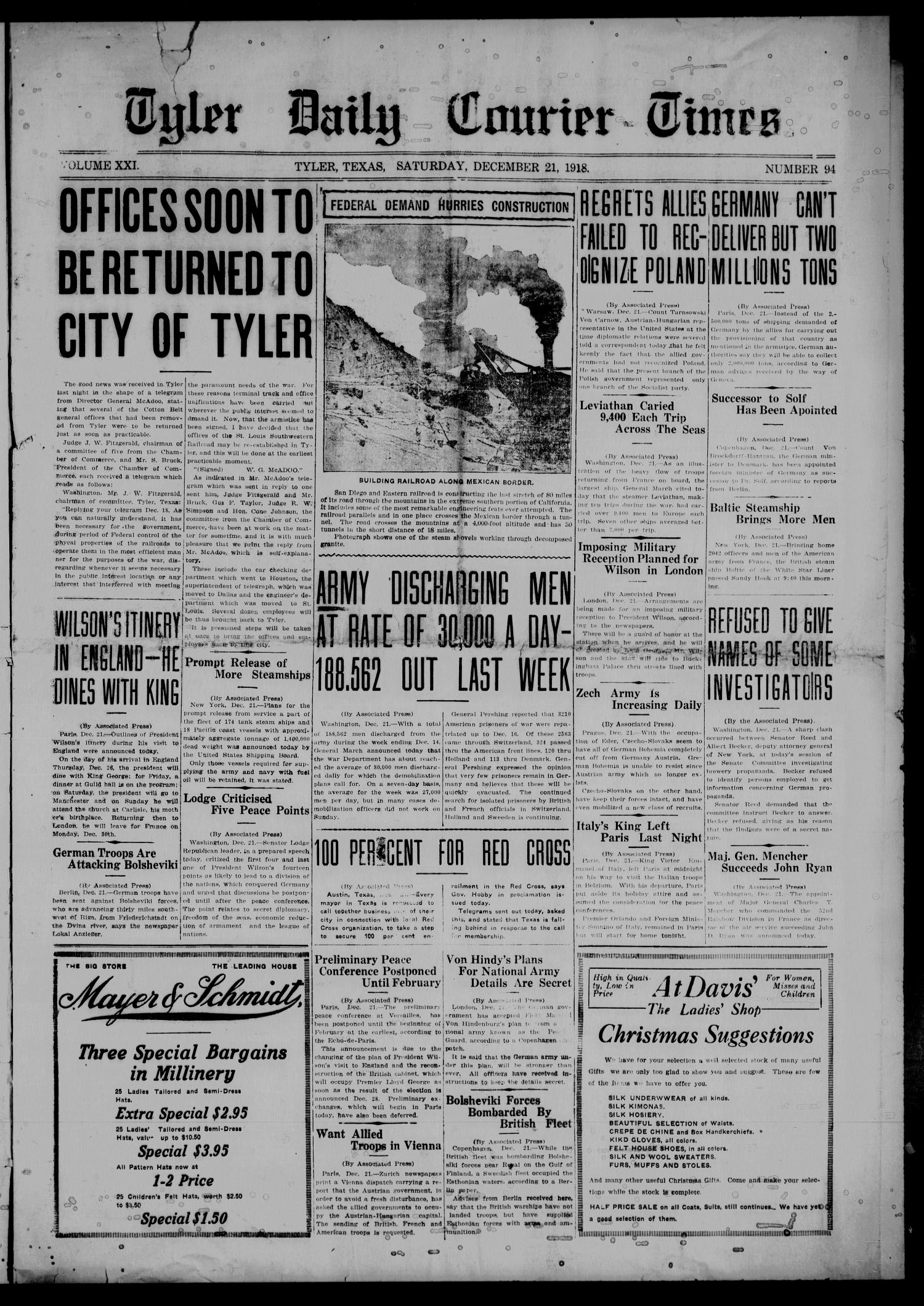 The Tyler Daily Courier-Times. (Tyler, Tex.), Vol. 21, No. 94, Ed. 1 Saturday, December 21, 1918                                                                                                      [Sequence #]: 1 of 8