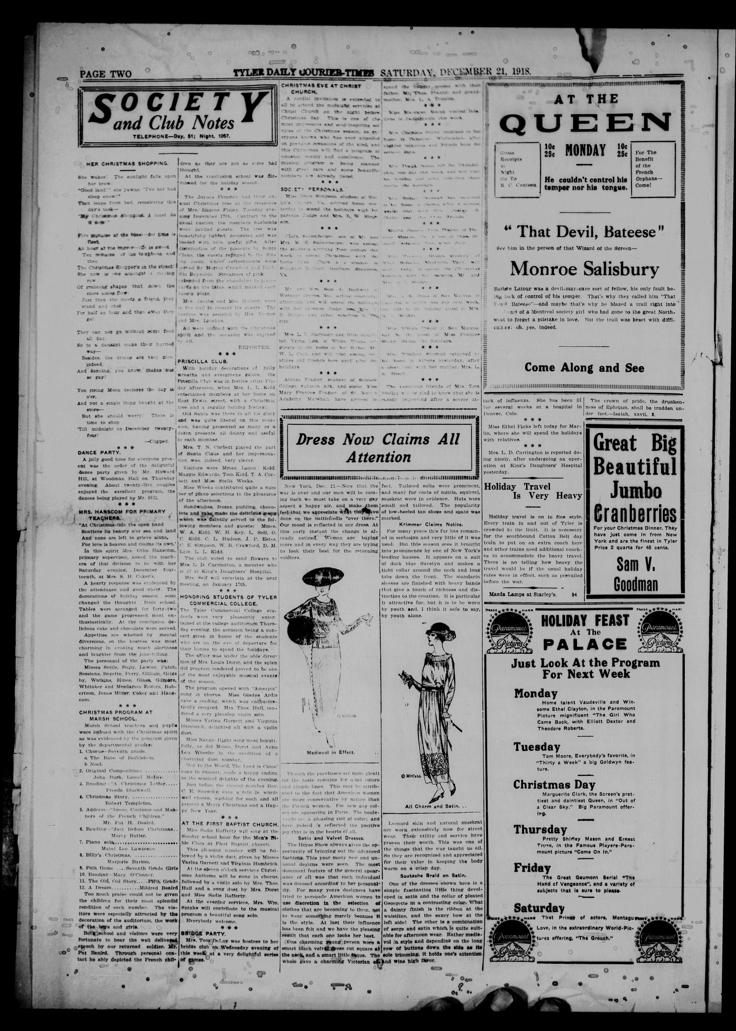 The Tyler Daily Courier-Times. (Tyler, Tex.), Vol. 21, No. 94, Ed. 1 Saturday, December 21, 1918                                                                                                      [Sequence #]: 2 of 8