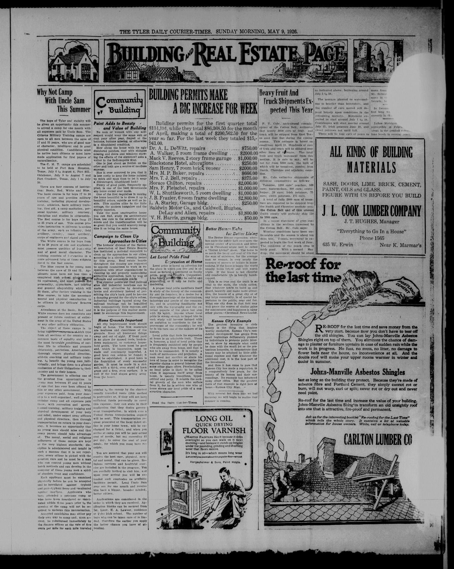The Tyler Daily Courier-Times. (Tyler, Tex.), Vol. 28, No. 220, Ed. 3 Sunday, May 9, 1926                                                                                                      [Sequence #]: 3 of 12