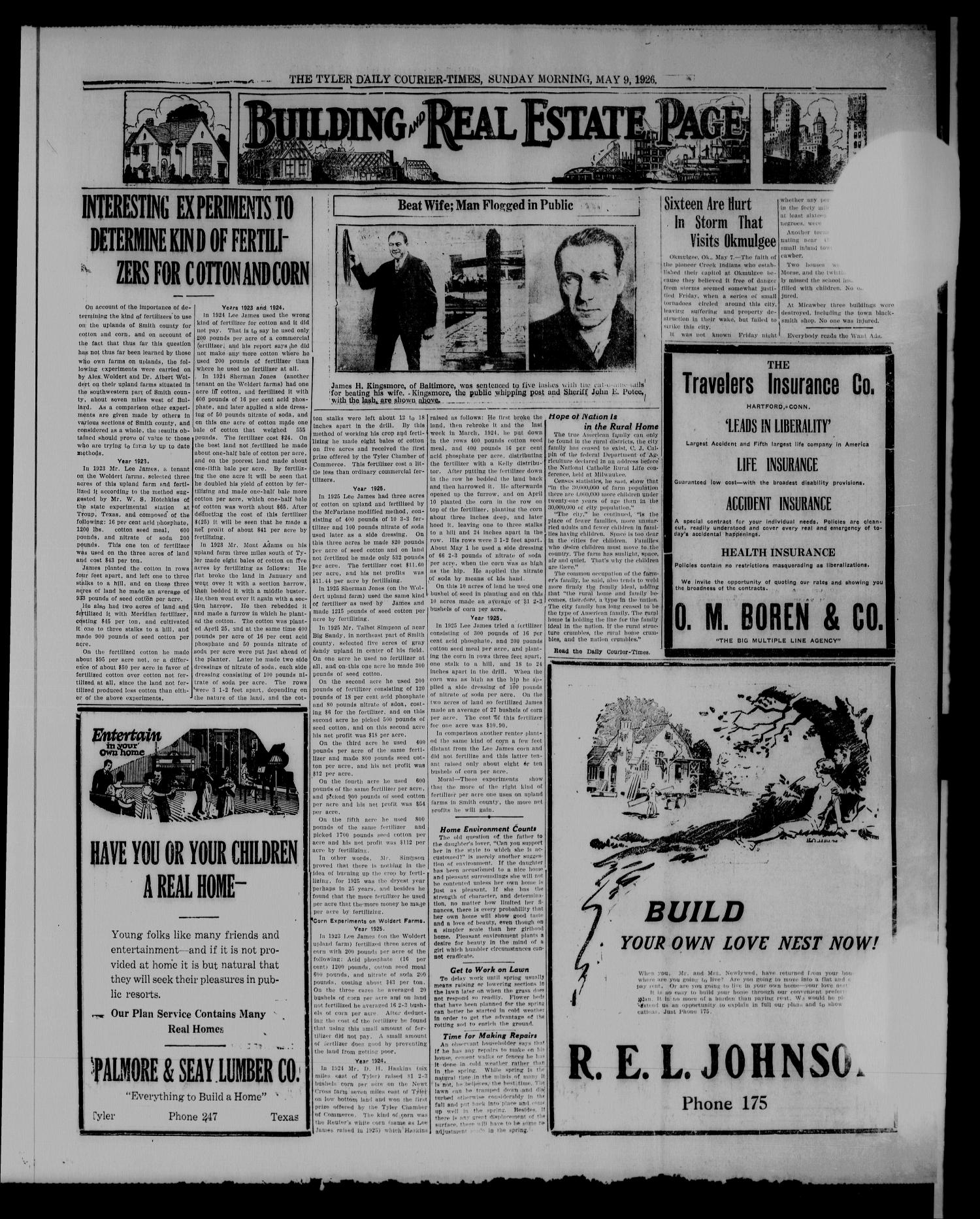 The Tyler Daily Courier-Times. (Tyler, Tex.), Vol. 28, No. 220, Ed. 3 Sunday, May 9, 1926                                                                                                      [Sequence #]: 5 of 12
