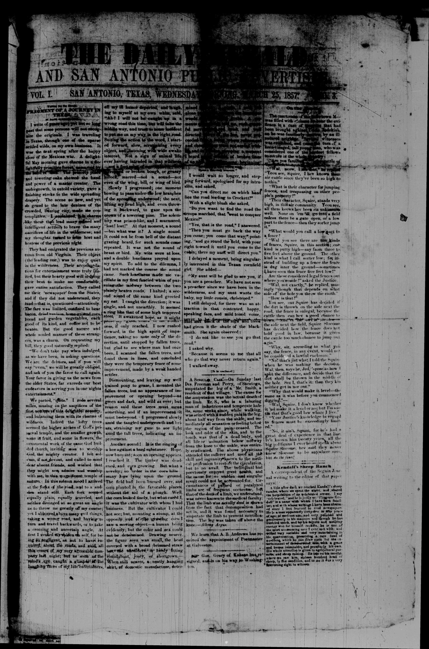 The Daily Herald and San Antonio Public Advertiser (San Antonio, Tex.), Vol. 1, No. 3, Ed. 1 Wednesday, March 25, 1857                                                                                                      [Sequence #]: 1 of 4