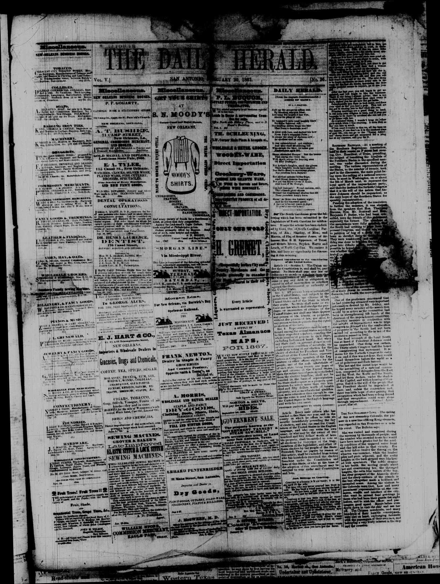 The Daily Herald. (San Antonio, Tex.), Vol. 5, No. 36, Ed. 1 Wednesday, February 20, 1867                                                                                                      [Sequence #]: 1 of 4