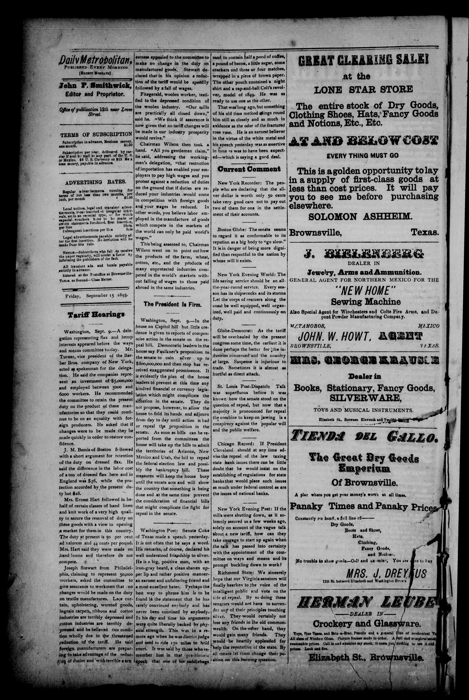 The Daily Metropolitan (Brownsville, Tex.), Vol. 1, No. 23, Ed. 1 Friday, September 15, 1893                                                                                                      [Sequence #]: 2 of 4