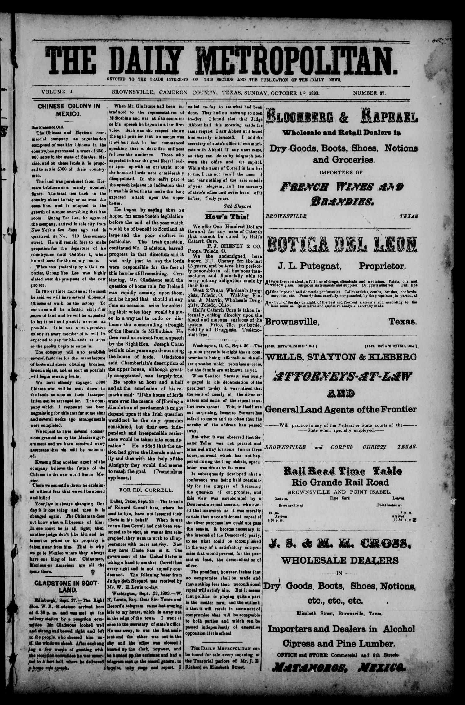 The Daily Metropolitan (Brownsville, Tex.), Vol. 1, No. 37, Ed. 1 Sunday, October 1, 1893                                                                                                      [Sequence #]: 1 of 4