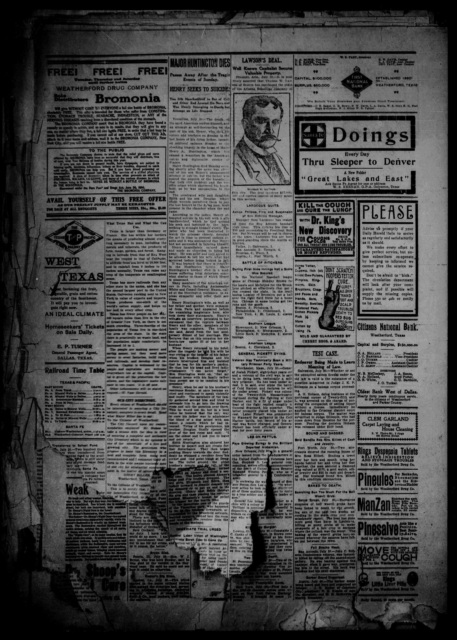 The Daily Herald. (Weatherford, Tex.), Vol. 8, No. 169, Ed. 1 Tuesday, July 30, 1907                                                                                                      [Sequence #]: 4 of 4