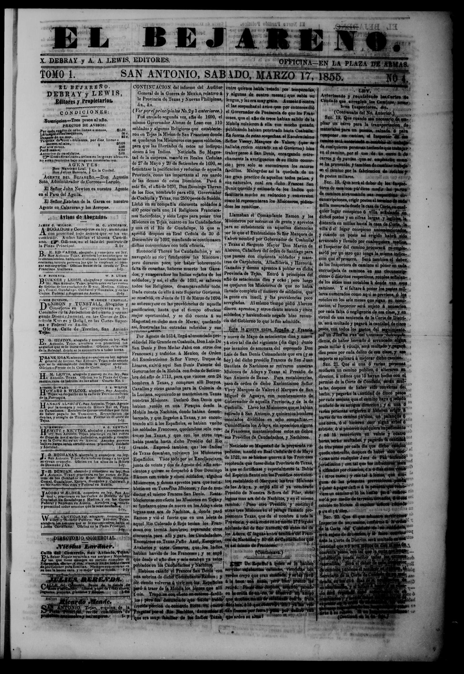 El Bejareño. (San Antonio, Tex.), Vol. 1, No. 4, Ed. 1 Saturday, March 17, 1855                                                                                                      [Sequence #]: 1 of 4