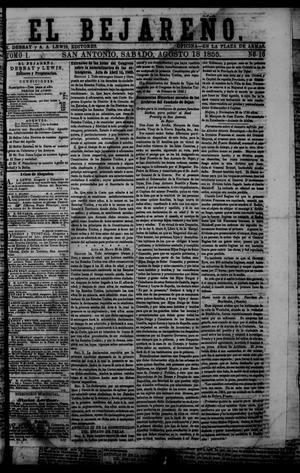 Primary view of El Bejareño. (San Antonio, Tex.), Vol. 1, No. 16, Ed. 1 Saturday, August 18, 1855