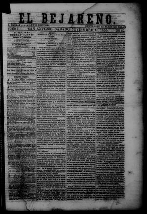 Primary view of El Bejareño. (San Antonio, Tex.), Vol. 1, No. 22, Ed. 1 Saturday, November 10, 1855