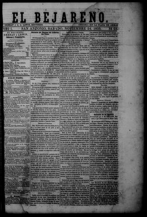 Primary view of object titled 'El Bejareño. (San Antonio, Tex.), Vol. 1, No. 23, Ed. 1 Saturday, November 24, 1855'.