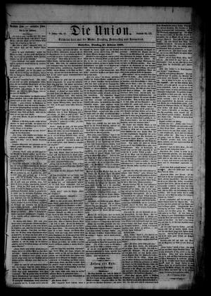 Primary view of object titled 'Die Union (Galveston, Tex.), Vol. 8, No. 53, Ed. 1 Tuesday, February 27, 1866'.