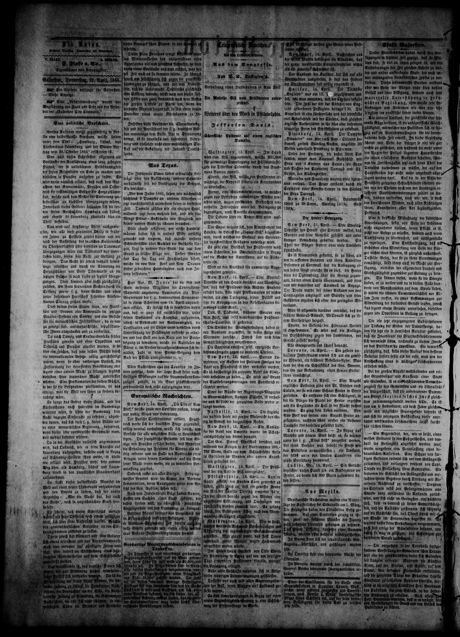 Die Union (Galveston, Tex.), Vol. 8, No. 75, Ed. 1 Thursday, April 19, 1866                                                                                                      [Sequence #]: 2 of 4