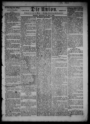 Primary view of object titled 'Die Union (Galveston, Tex.), Vol. 8, No. 112, Ed. 1 Saturday, July 14, 1866'.