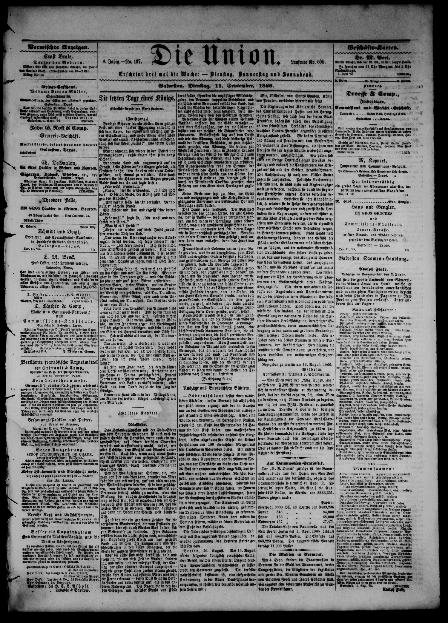 Die Union (Galveston, Tex.), Vol. 8, No. 137, Ed. 1 Tuesday, September 11, 1866                                                                                                      [Sequence #]: 1 of 4