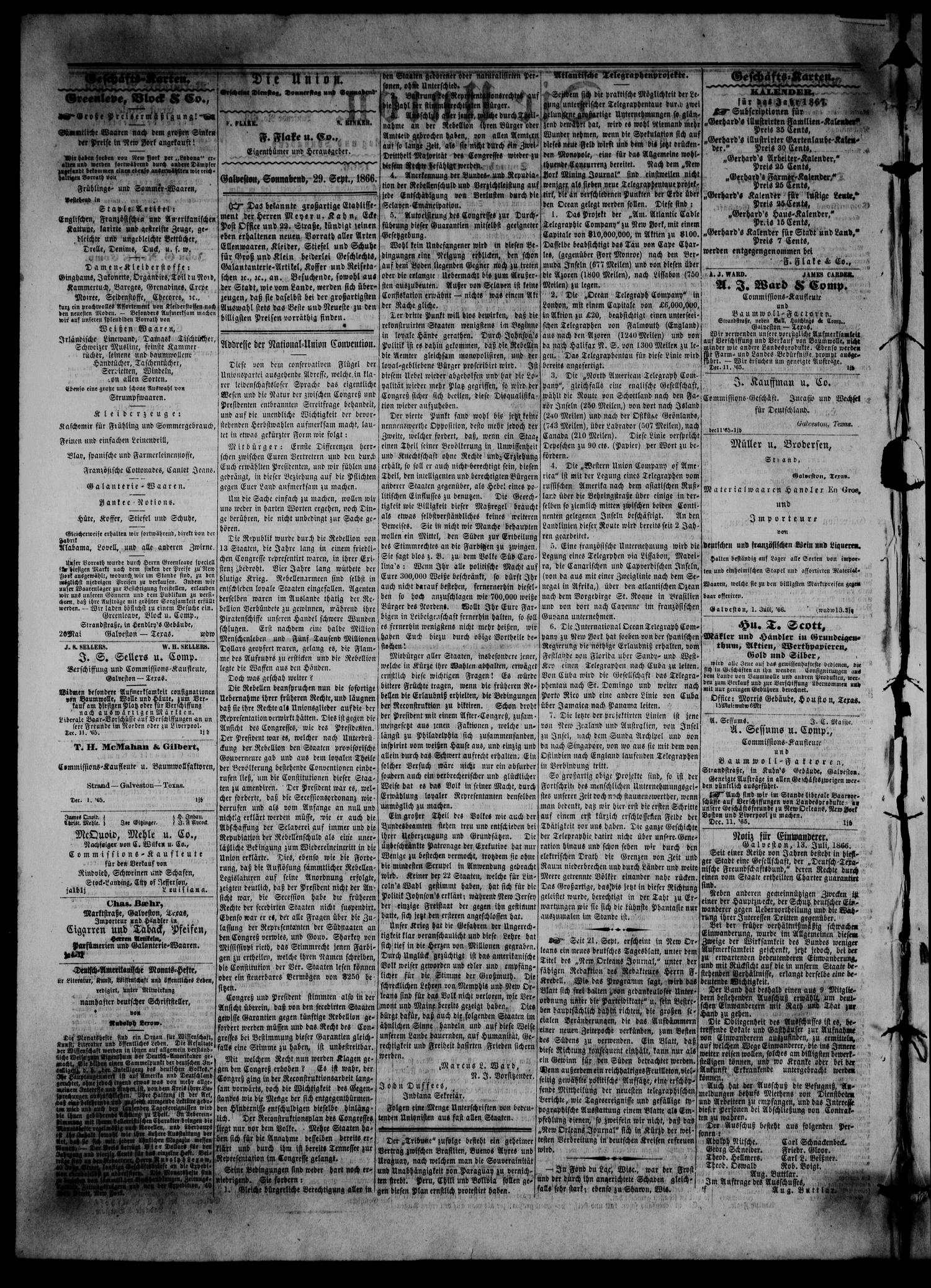 Die Union (Galveston, Tex.), Vol. 8, No. 145, Ed. 1 Saturday, September 29, 1866                                                                                                      [Sequence #]: 2 of 4