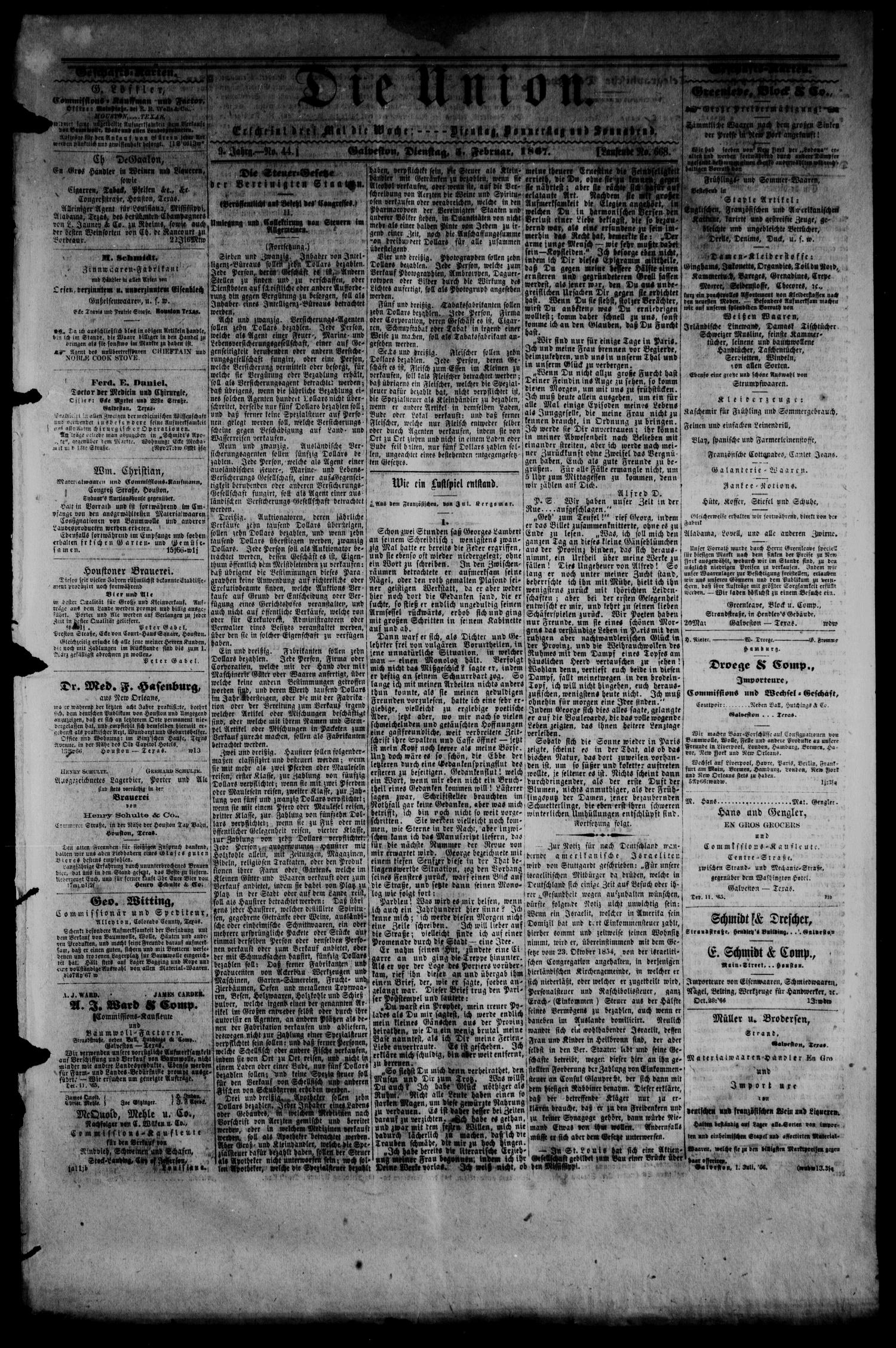 Die Union (Galveston, Tex.), Vol. 9, No. 44, Ed. 1 Tuesday, February 5, 1867                                                                                                      [Sequence #]: 1 of 4