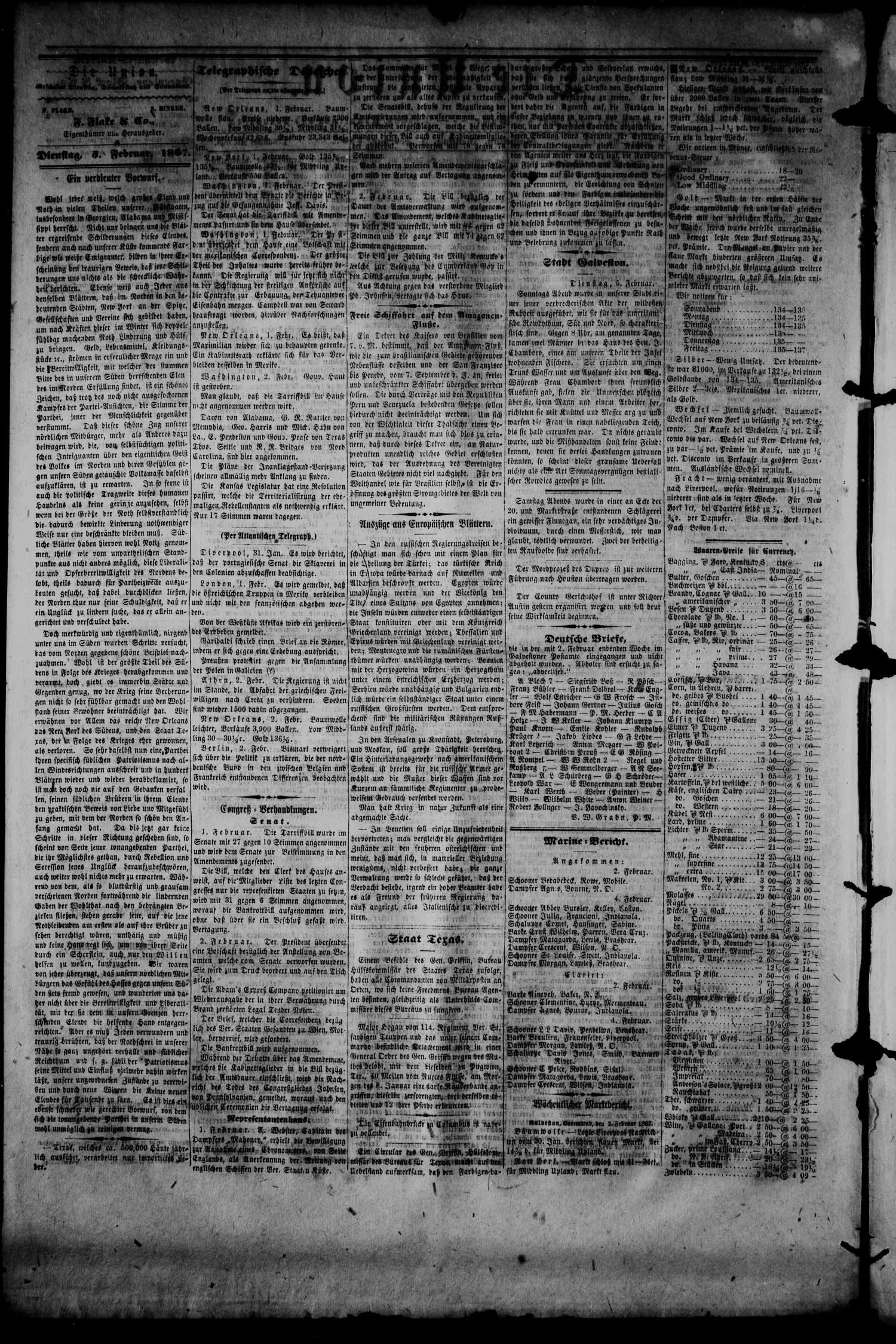 Die Union (Galveston, Tex.), Vol. 9, No. 44, Ed. 1 Tuesday, February 5, 1867                                                                                                      [Sequence #]: 2 of 4