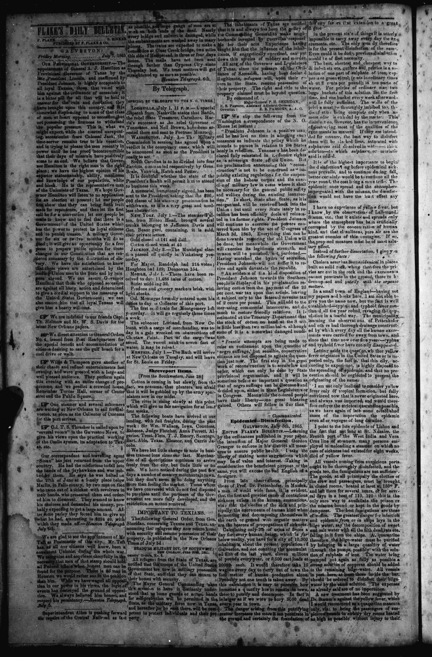 Flake's Daily Bulletin. (Galveston, Tex.), Vol. 1, No. 19, Ed. 1 Friday, July 7, 1865                                                                                                      [Sequence #]: 2 of 4