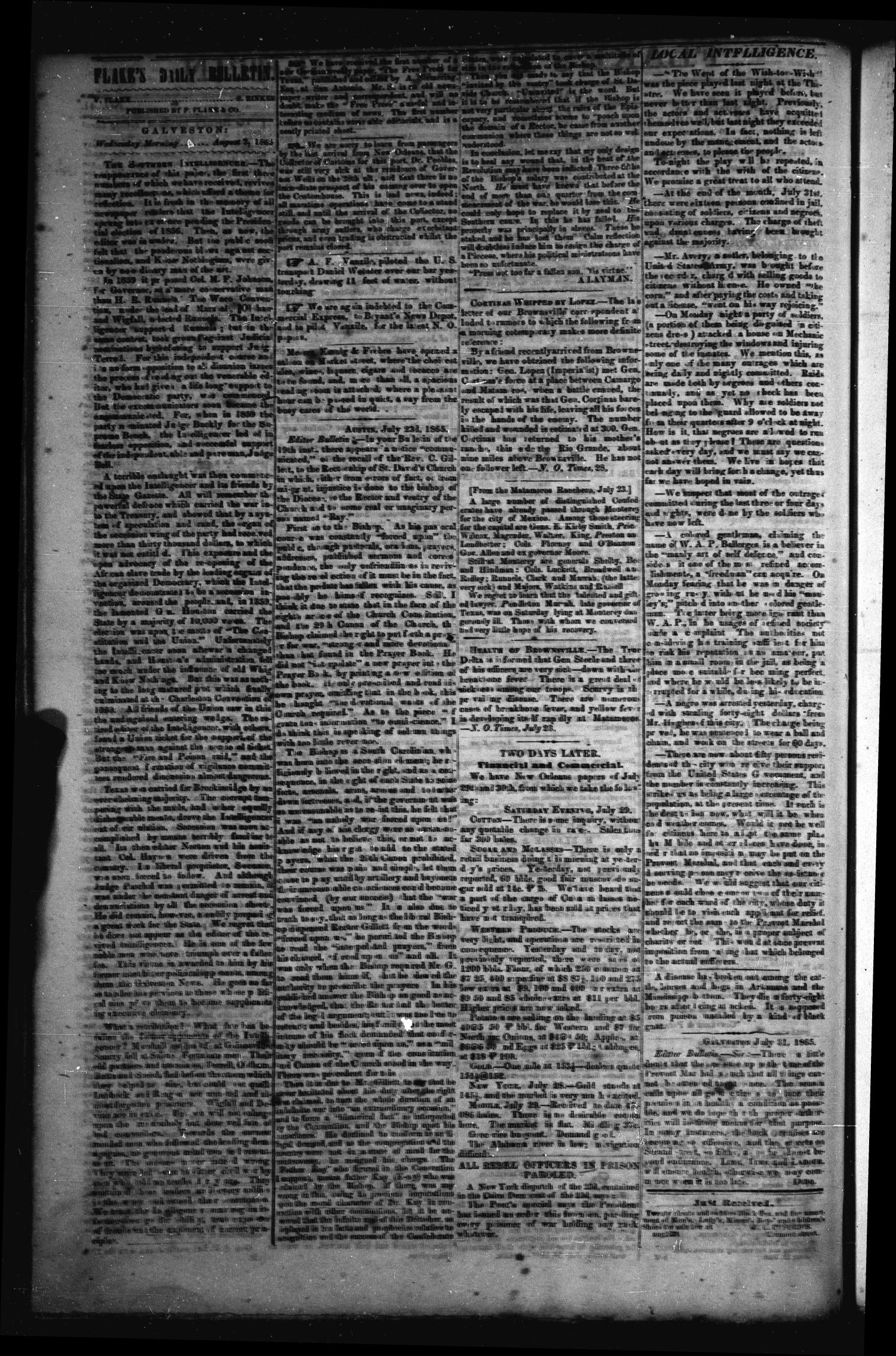 Flake's Daily Bulletin. (Galveston, Tex.), Vol. 1, No. 41, Ed. 1 Wednesday, August 2, 1865                                                                                                      [Sequence #]: 2 of 2