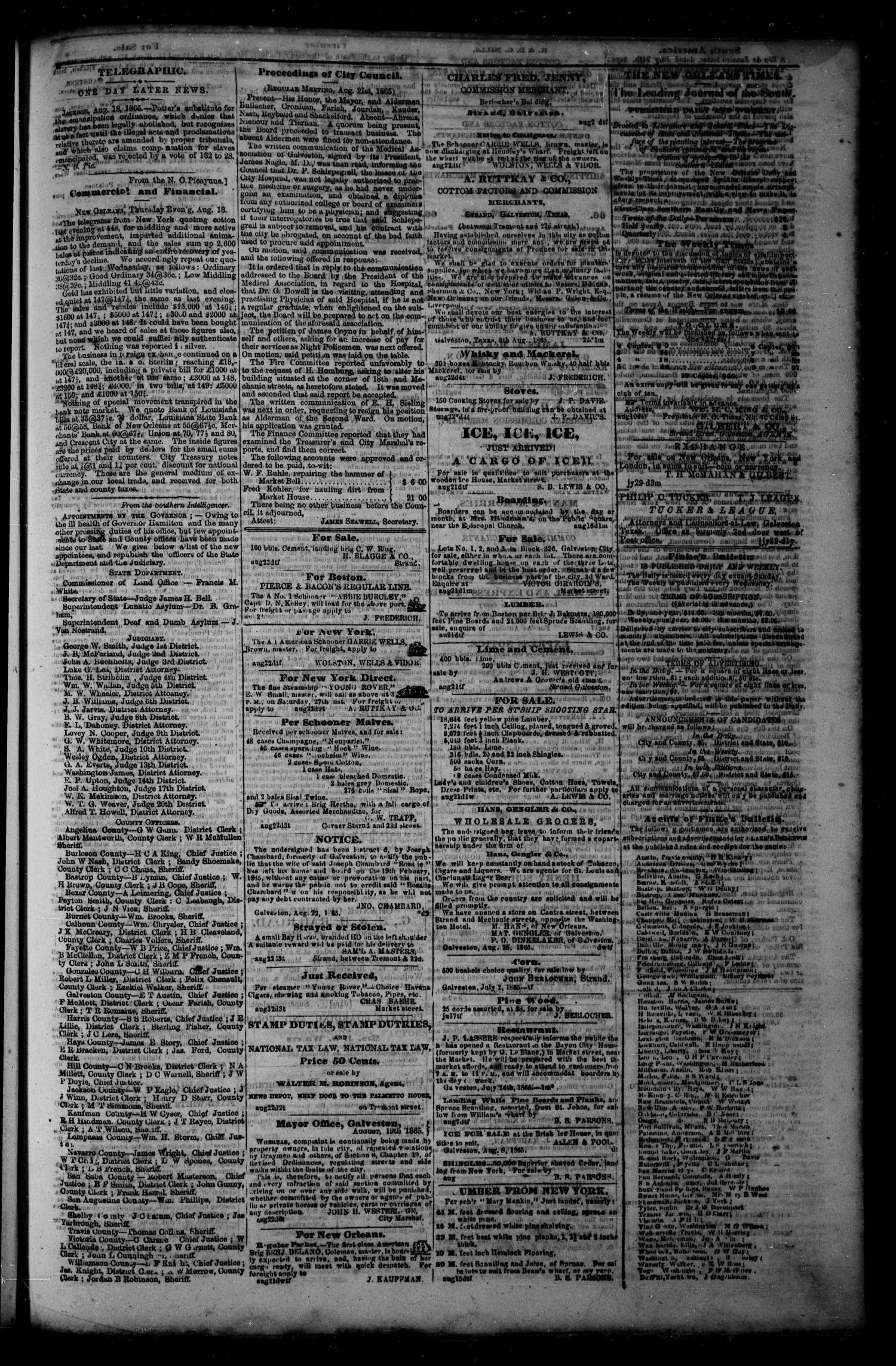 Flake's Daily Bulletin. (Galveston, Tex.), Vol. 1, No. 59, Ed. 1 Wednesday, August 23, 1865                                                                                                      [Sequence #]: 3 of 4
