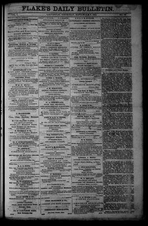 Primary view of object titled 'Flake's Daily Bulletin. (Galveston, Tex.), Vol. 1, No. 72, Ed. 1 Thursday, September 7, 1865'.