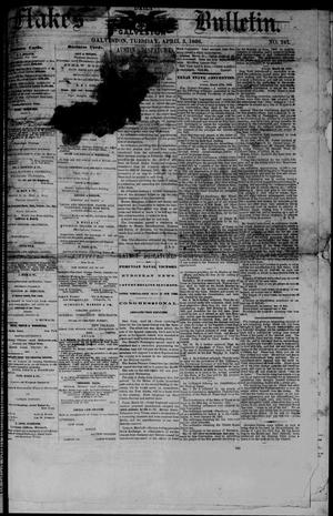 Primary view of object titled 'Flake's Daily Galveston Bulletin. (Galveston, Tex.), Vol. 1, No. 247, Ed. 1 Tuesday, April 3, 1866'.