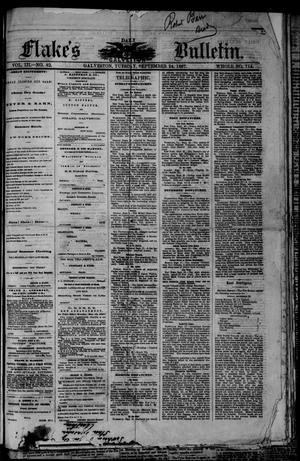 Primary view of object titled 'Flake's Daily Galveston Bulletin. (Galveston, Tex.), Vol. 3, No. 82, Ed. 1 Tuesday, September 24, 1867'.
