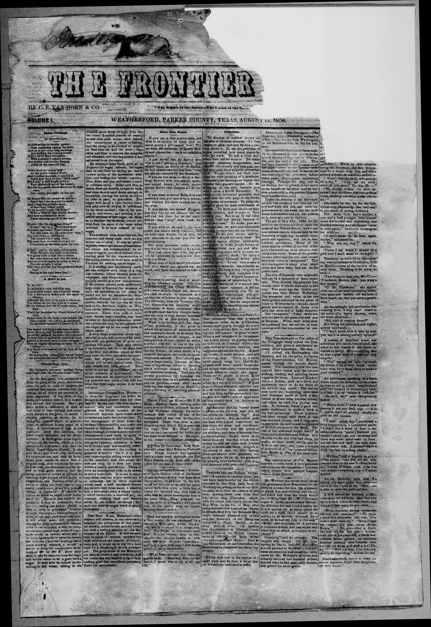 The Frontier News. (Weatherford, Tex.), Vol. 1, Ed. 1 Thursday, August 19, 1858                                                                                                      [Sequence #]: 1 of 4