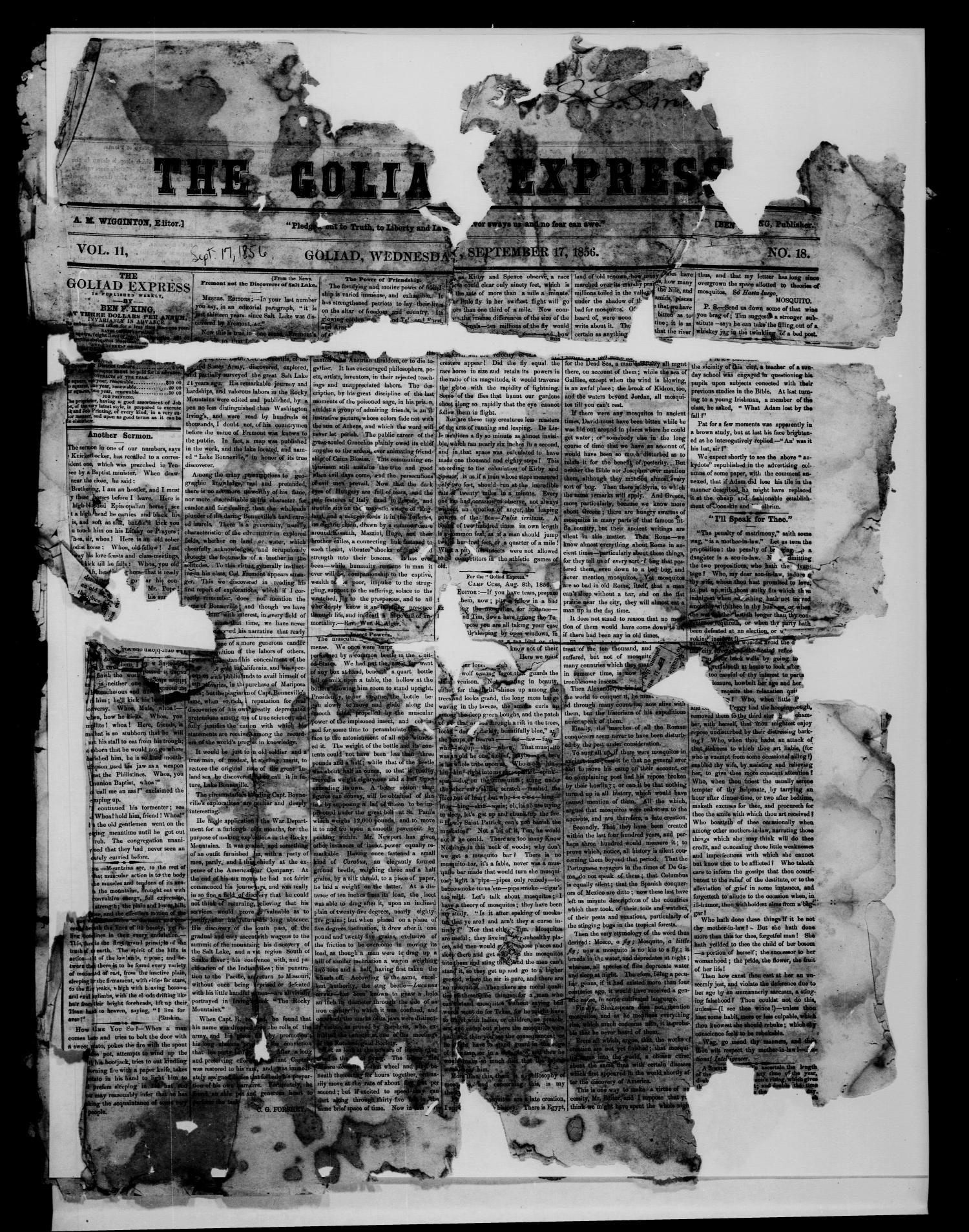 The Goliad Express (Goliad, Tex.), Vol. 11, No. 18, Ed. 1 Wednesday, September 17, 1856                                                                                                      [Sequence #]: 1 of 4