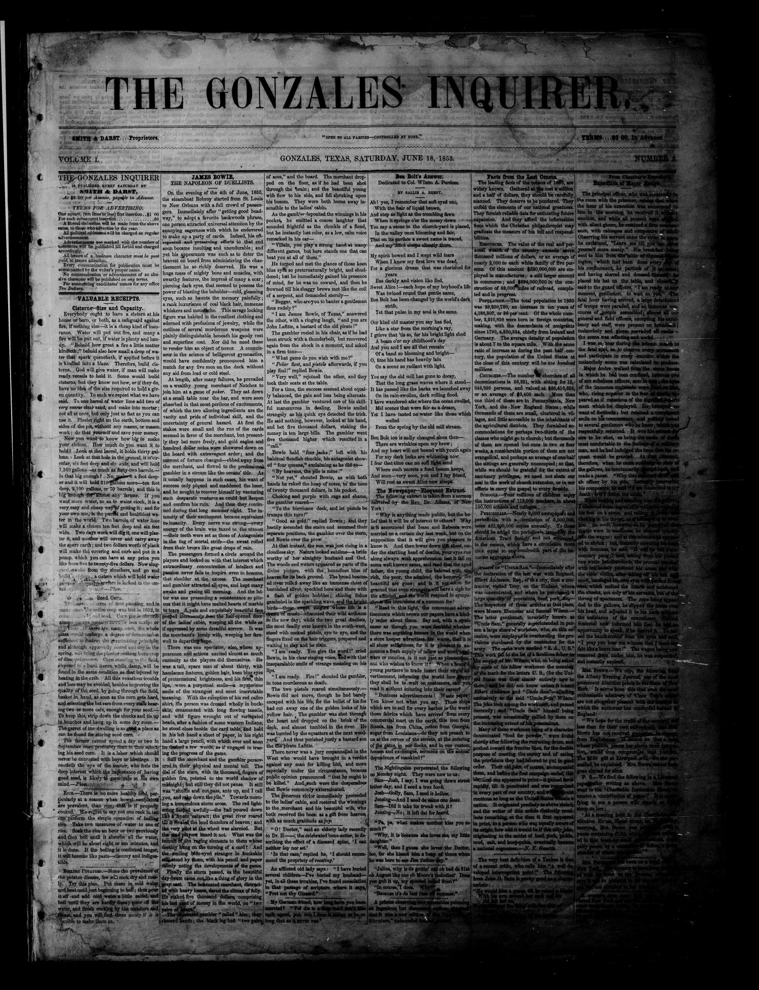The Gonzales Inquirer (Gonzales, Tex.), Vol. 1, No. 3, Ed. 1 Saturday, June 18, 1853                                                                                                      [Sequence #]: 1 of 4