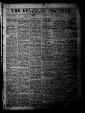 Primary view of object titled 'The Gonzales Inquirer (Gonzales, Tex.), Vol. 1, No. 5, Ed. 1 Saturday, July 2, 1853'.