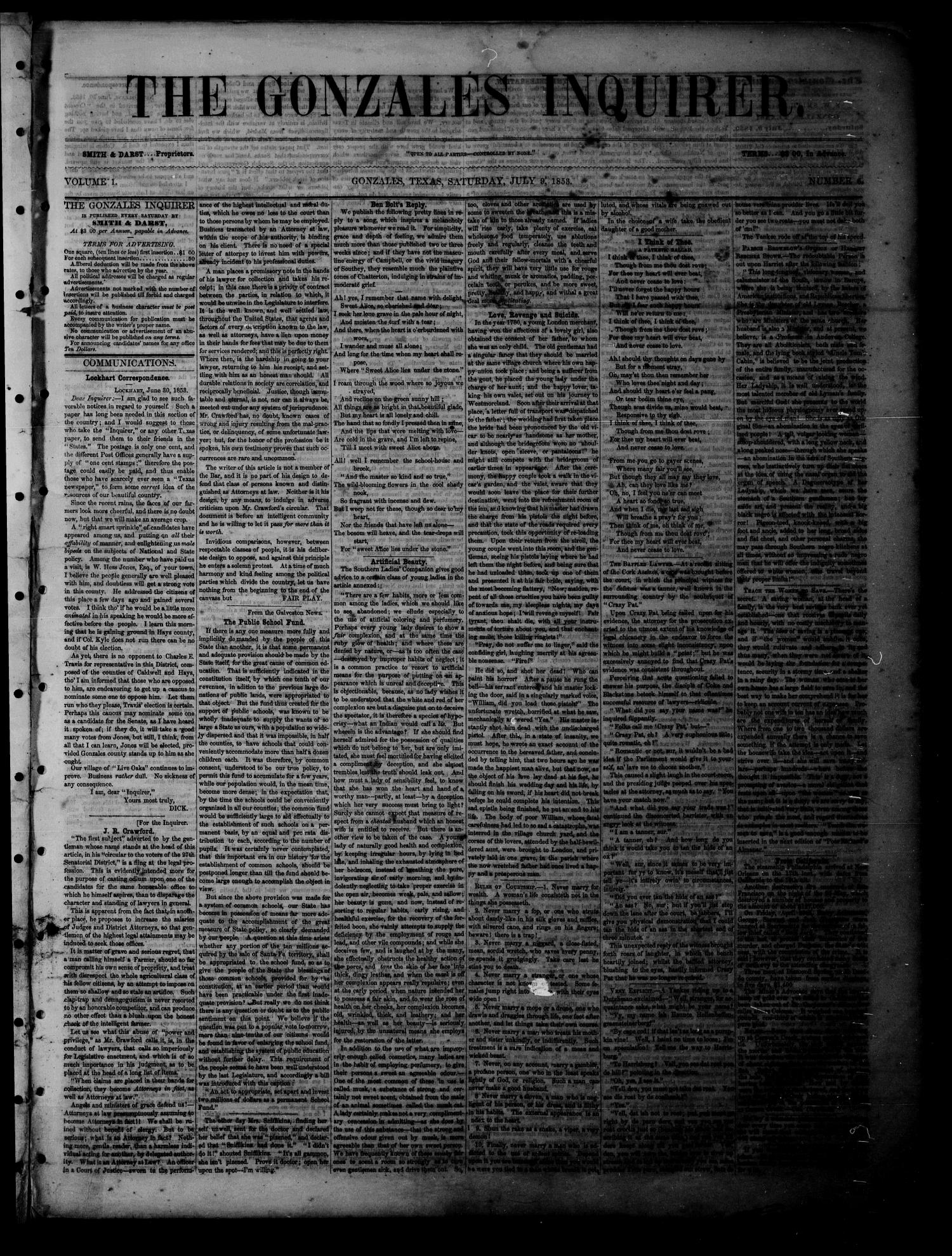 The Gonzales Inquirer (Gonzales, Tex.), Vol. 1, No. 6, Ed. 1 Saturday, July 9, 1853                                                                                                      [Sequence #]: 1 of 4